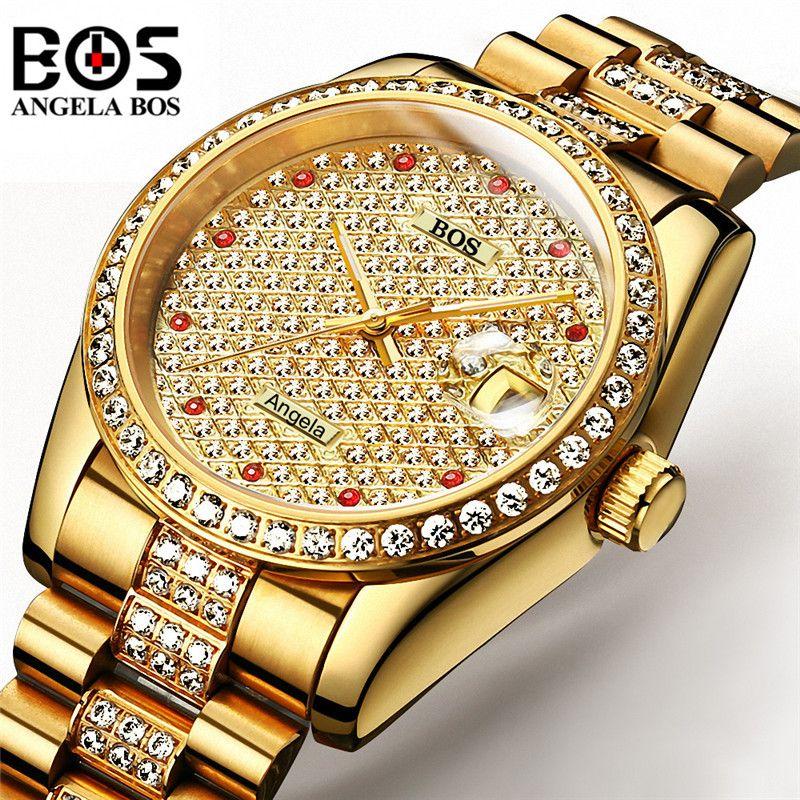 Relogio Masculino ANGELA BOS Marke Luxus Uhr Männer Wasserdichte Gold Silber Diamant Automatische Mechanische Armbanduhr Montre Homme