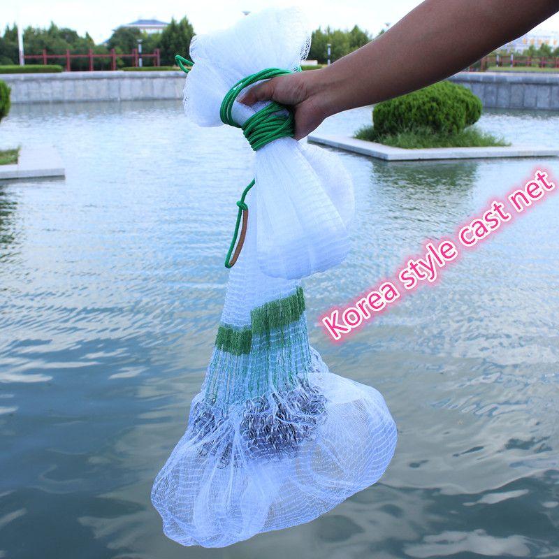 Durchmesser 3,5 m/4,5 m/5,5 m Koreanischen stil cast net fischernetze hand werfen net runde net rede de pesca 0,3mm monofilament nylon net