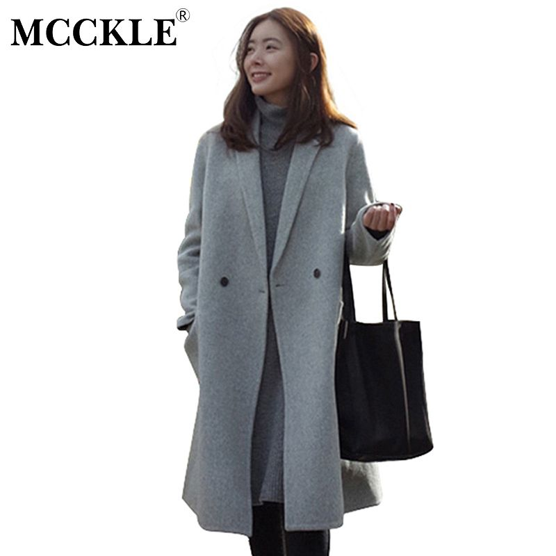 MCCKLE Women 2018 Autumn Winter Jackets Warm Cotton Padded Wool Blends Solid Oversize Female High Quality Long Coat Dropshipping