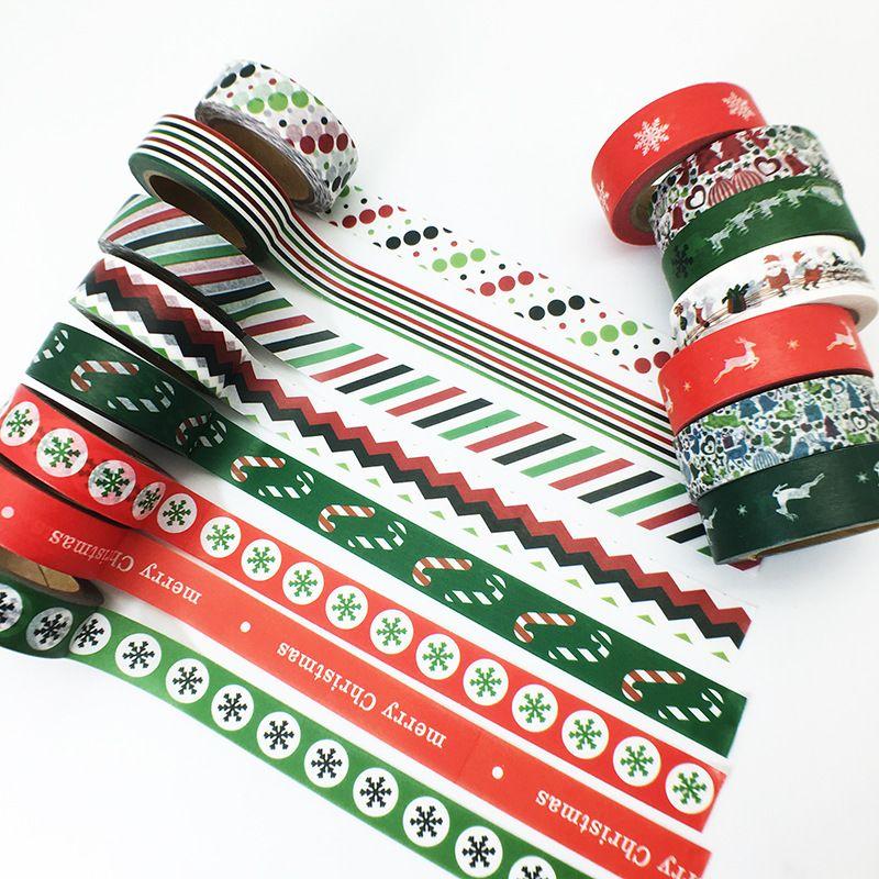 2017 Nueva 1x 10 rollos de Cinta de Navidad Copos de Nieve Ciervos Santa Claus Material Escolar para Herramientas Scrapbooking Washi Japonés Cinta 10 M