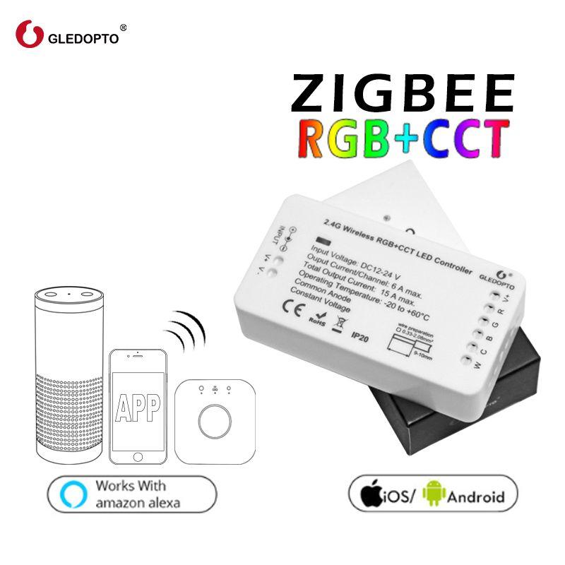 GLEDOPTO ZIGBEE Led Controller RGB+CCT WW/CW zigbee controller LED DC12-24V LED strip controller zll app controller RGBW rgb