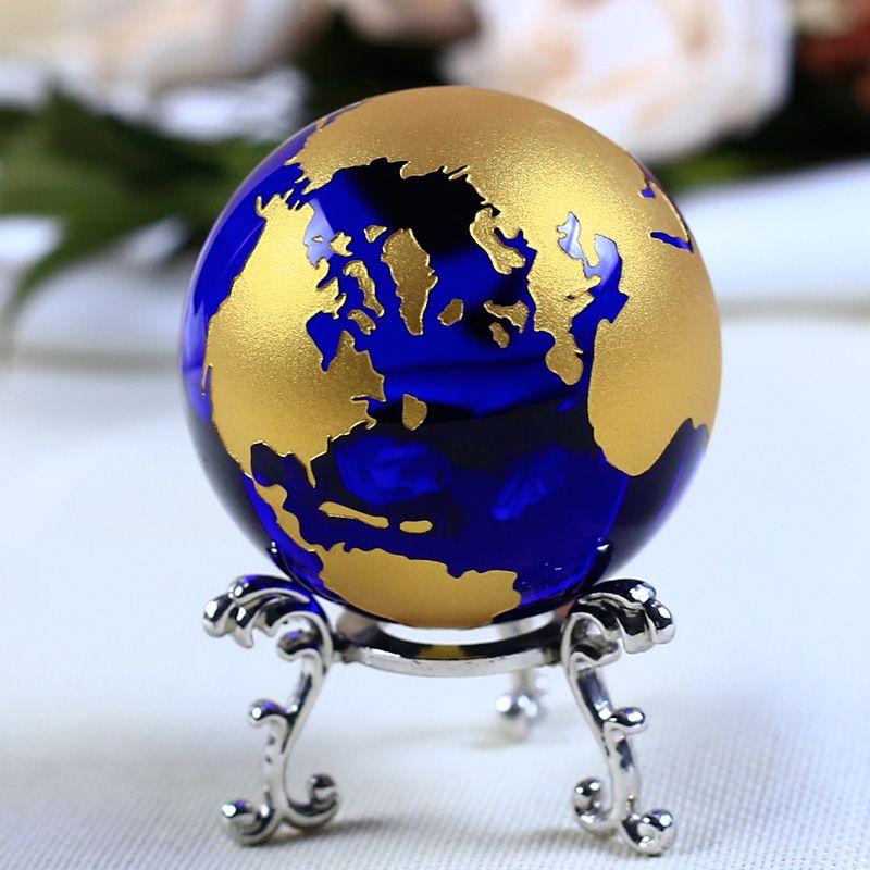 6 cm Bleu Or Cristal Terre Modèle Feng Shui Verre Globe Boule de Cristal Sphère Ornements Figurine Décoration de La Maison Accessoires Cadeaux