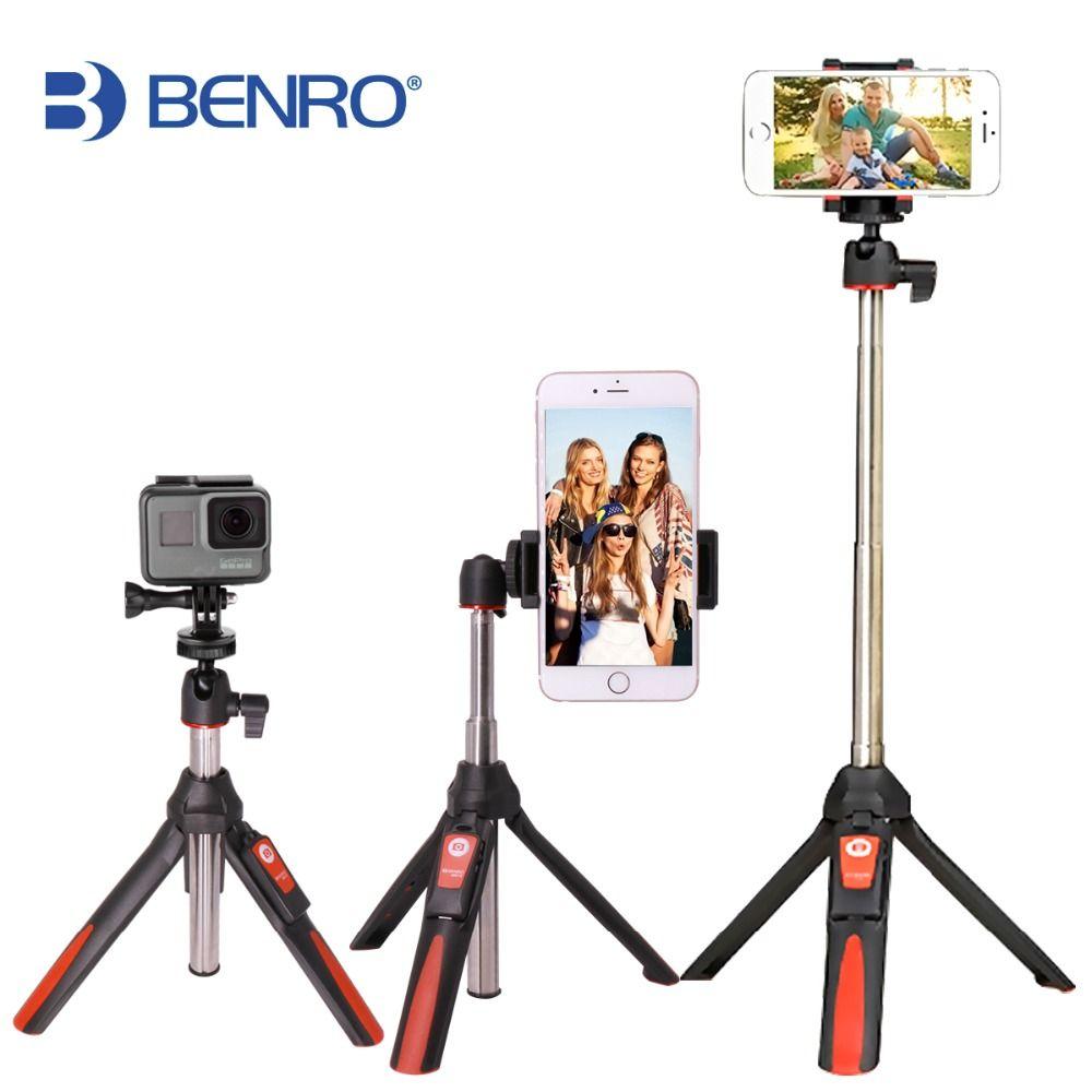 BENRO 33inch <font><b>Handheld</b></font> Tripod Selfie Stick 3 in 1 Bluetooth Extendable Monopod Selfie Stick Tripod for iPhone 8 Samsung Gopro 4 5