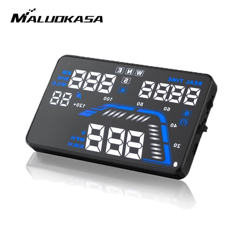MALUOKASA 5.5'' Q7 Auto Car HUD GPS Head Up Display Speedometers Overspeed Warning Alarm System Dashboard Windshield Projector