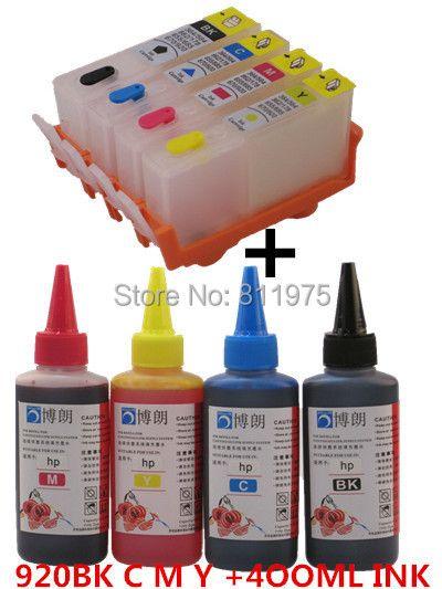 BLOOM 920XL 920 Rechargeable cartouche D'ENCRE pour HP Officejet 6000 6500 6500A 7000 7500A + pour hp Premium 4 Couleur Dye Encre 400 ML