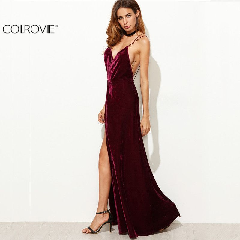 COLROVIE Burgundy Velvet Maxi Backless Dress Womens Autumn <font><b>Party</b></font> Dresses Deep V Neck Long Elegant Dress New Strappy Wrap Dress