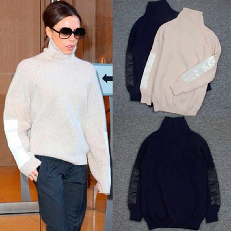 Women sweaters and pullovers Victoria Beckham turtleneck 70% Wool the solid color plain knitted loose cardigan sweater TC868