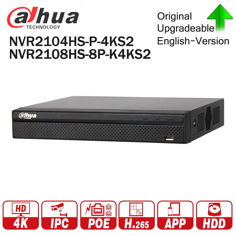 Dahua NVR2104HS-P-4KS2 NVR2108HS-8P-4KS2 4CH 8CH POE NVR 4K Recorder Support HDD 4/8CH POE for CCTV System Security Kit