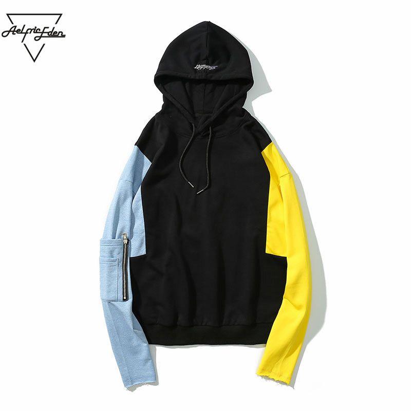 Aelfric Eden Long Sleeve Patchwork Men's Hoodies Pockets Hip Hop New Design Warm Hoodie Sweatshirt Jacket Cool Sweat Homme PA170