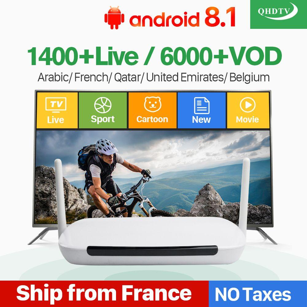 Q9 Android 8.1 IPTV France boîte arabe avec français belgique IPTV arabe France en direct IPTV abonnement 1 an QHDTV IP chaînes de télévision