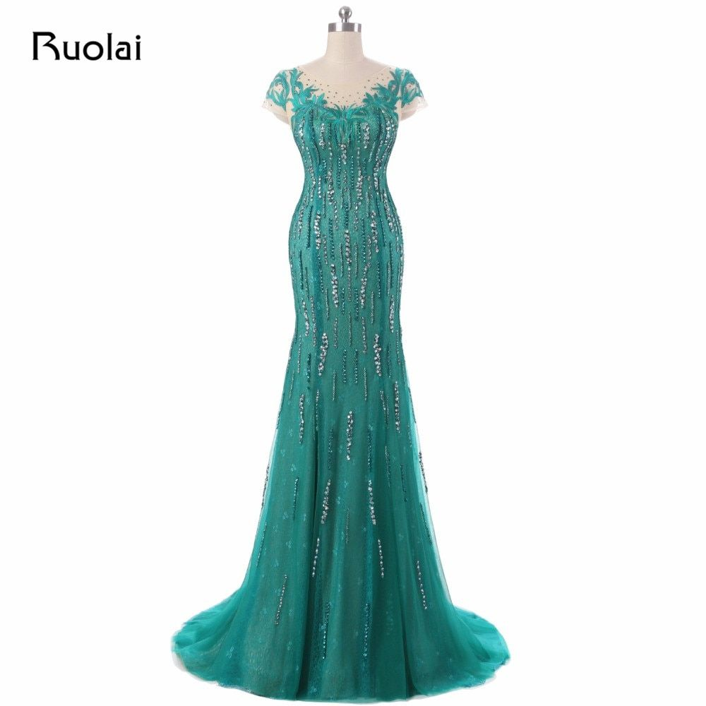 Real Picture 2017 Green Mermaid Evening Dresses Scoop Sequined Embroidery Tulle Prom Dress Long Evening Party Dress ASAE43