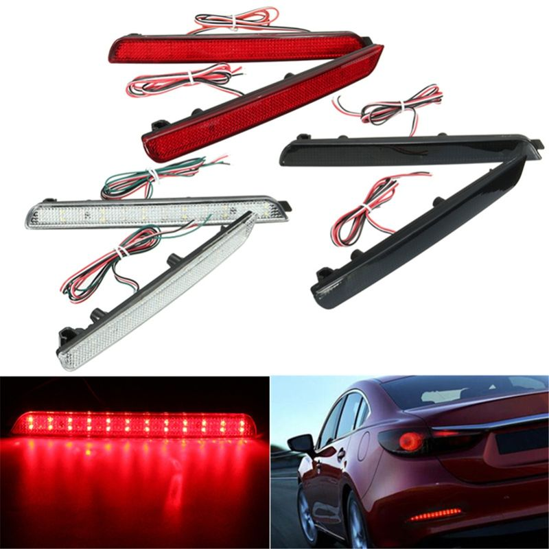 2x 24LED Rear Bumper Reflectors Tail Brake Stop <font><b>Running</b></font> Turning Light For Mazda 3 04-09 Parking Warning Night Driving Fog Lamp