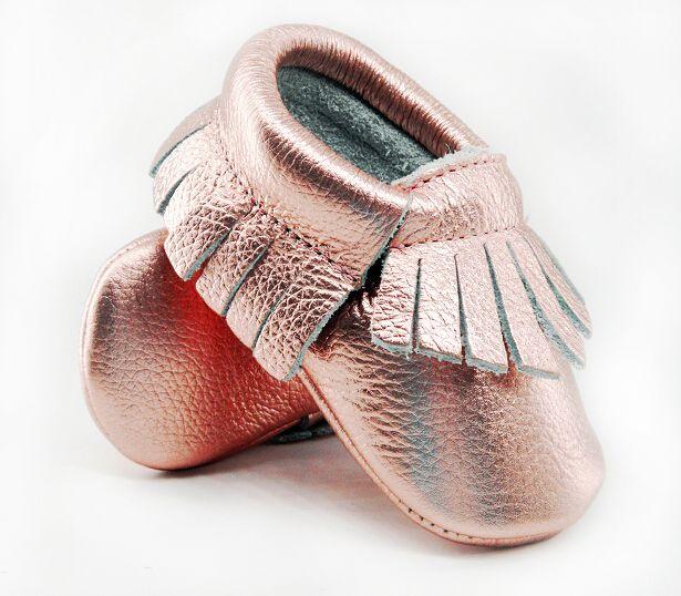16 color nuevo brillo Rosa Cuero auténtico mocasines Primeros pasos suave rosa de oro bebé Zapatos infantil franja Zapatos 0-30month