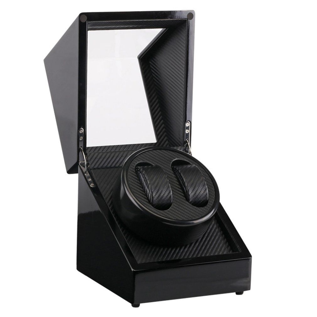 US Plug Wooden Lacquer Piano Glossy Black Carbon Fiber Double Watch Winder Box Quiet Motor Storage Display Case for Watches New
