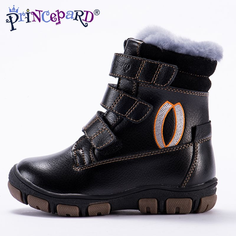 Princepard 2018 winter tall waist orthopedic boots for kids 100% natural fur genuine leather shoes boys girls 22-36