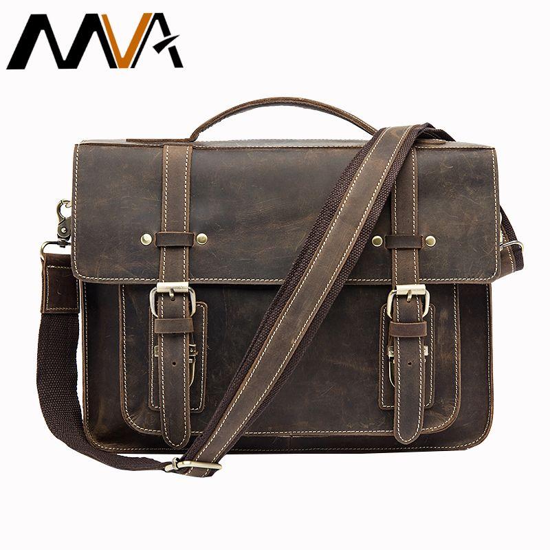 MVA Male Briefcases Genuine Leather Laptop Bag Messenger bags Men Shoulder bag leather handbags briefcase for documents 9019