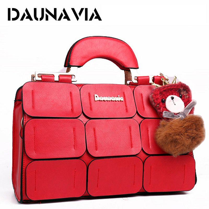 DAUNAVIA brand Boston bag women shoulder bag famous designer high quality PU leather handbags woman messenger bags crossbody bag