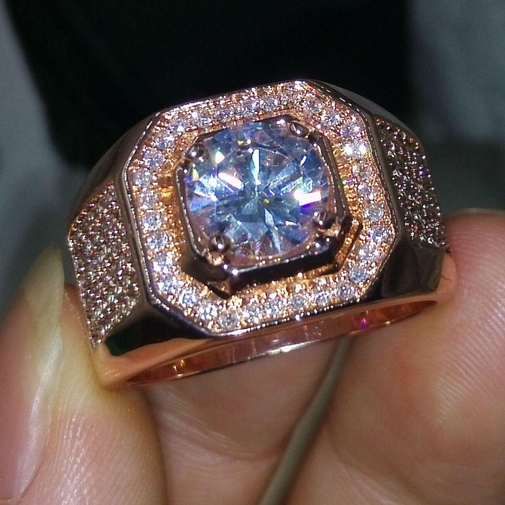Модные украшения Solitaire человек кольцо 3ct CZ 5A циркон камень розового золота 925 серебро Обручение обручальное кольцо для мужчин