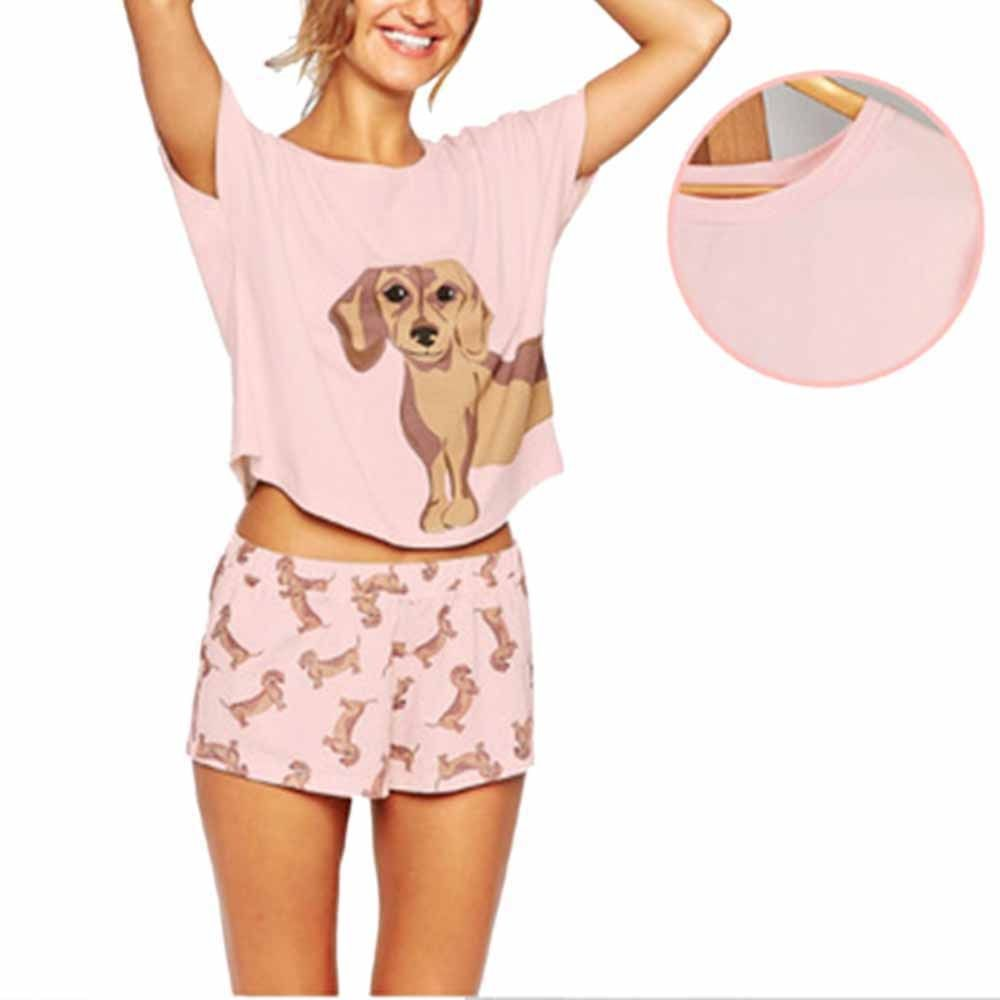 Ensemble pyjama femme teckel carlin Corgi Chihuahua berger allemand chien Crop top shorts taille élastique lâche Pijama Mujer o-cou