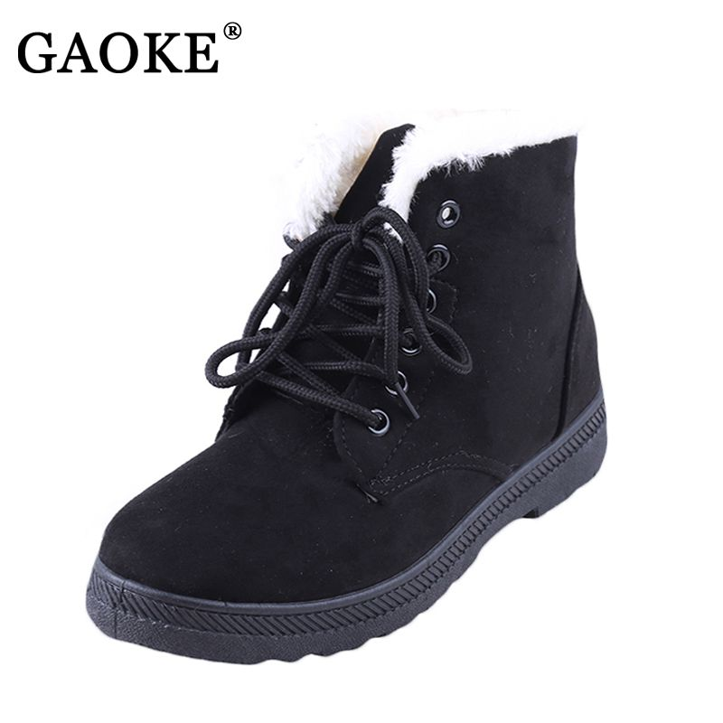 2017 New Fashion Women's Winter Short Boots Sheepskin Thickened Fur Shoes Keep Botas Mujer Lace Up Flock Warm Ankle Snow Boots