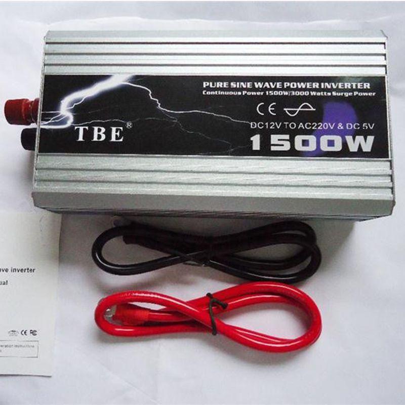 1500W 1500Watt Car Auto Pure Sine Wave Power Inverter 12V DC to 220V AC 3000 Watt Peak 60Hz Car Power Tools WITH USB