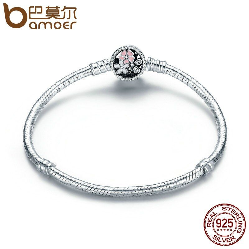 BAMOER Authentic 925 Sterling Silver Poetic Daisy Cherry Blossom Mixed Enamels & Clear CZ Snake Chain Bracelet Jewelry PAS919