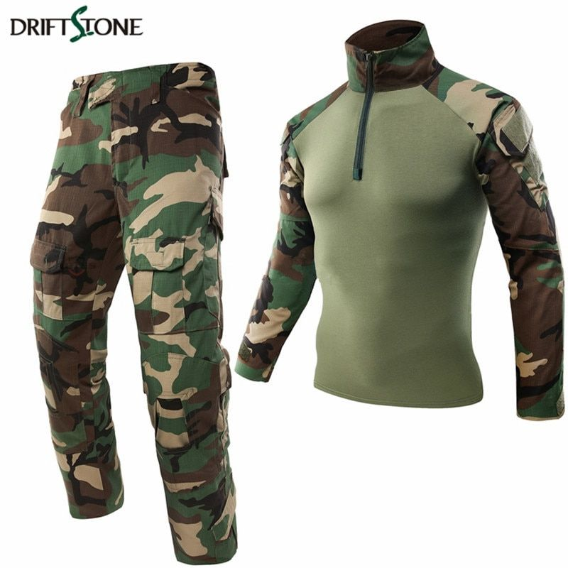 Woodland Military Uniform Airsoft Camouflage Clothing Suit Paintball Equipment Military Clothing Tactical Pants Shirt With Pads