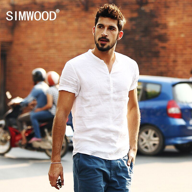 Simwood 2018 New Arrival Summer Short-sleeved Shirts Men 100% Linen White Solid Color Slim Fit Plus Size Collarless Tops CS1534