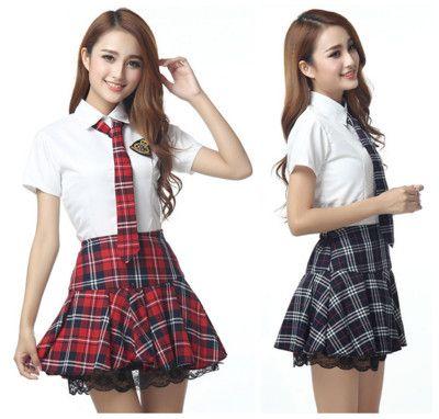 Manches courtes Japonais école uniforme fille marin robe rouge/tibétain bleu Plaid jupe Uniformes Japonais coréen Costumes pour fille