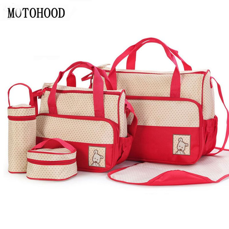 MOTOHOOD 39*28.5*17CM 5pcs Baby Diaper Bag Suits For Mom Baby Bottle Holder Mother Mummy Stroller Maternity Nappy Bags Sets