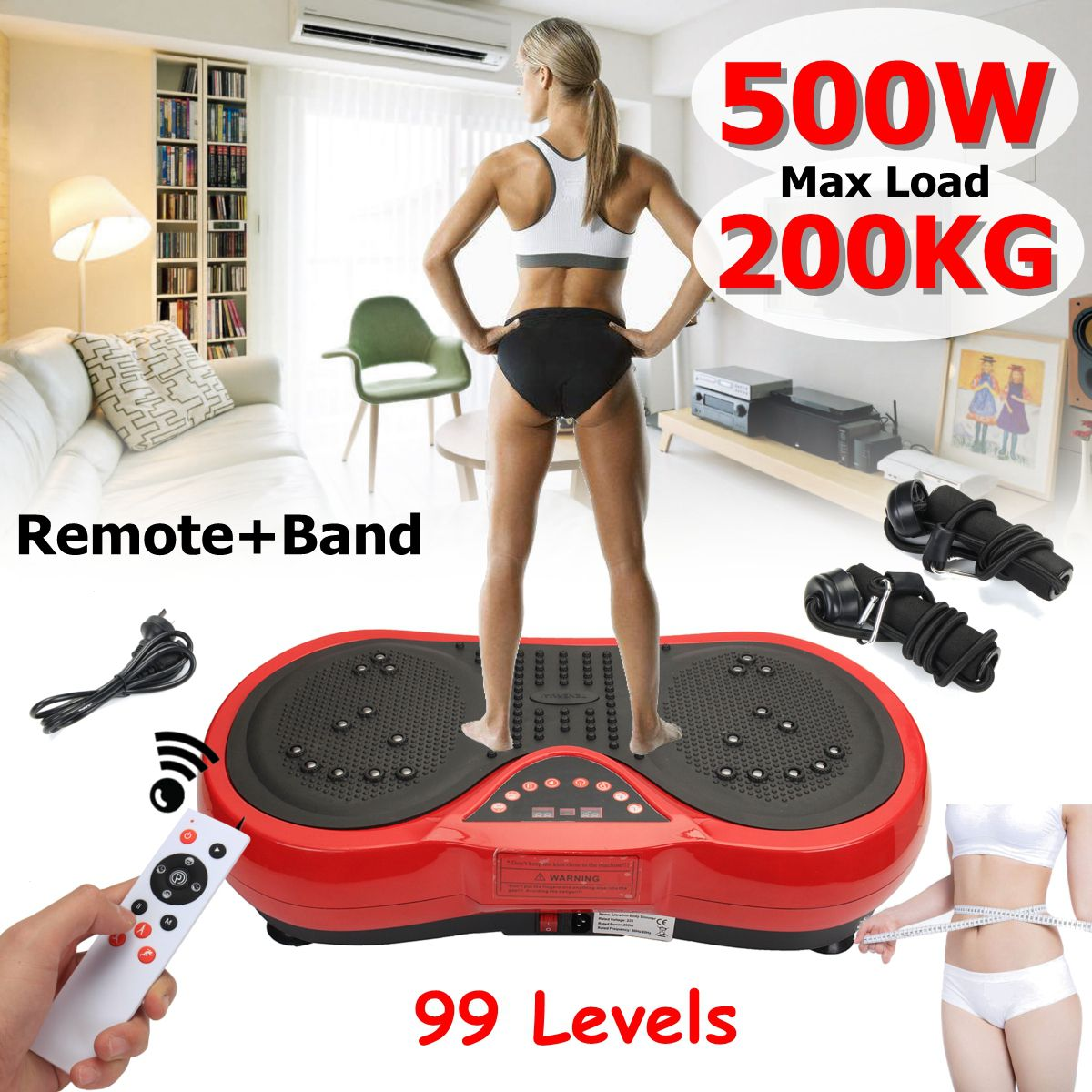 Exercise Fitness Slim Vibration Machine Trainer Plate Platform Body Shaper with Resistance Bands for Home + remote + b and