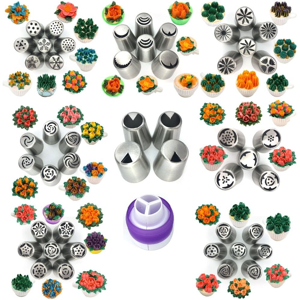 49pc large Russian Tulip Icing Piping Nozzles Pastry Tips for DIY Dessert Baking Stainless Steel ice cream Cake Decoration Tools