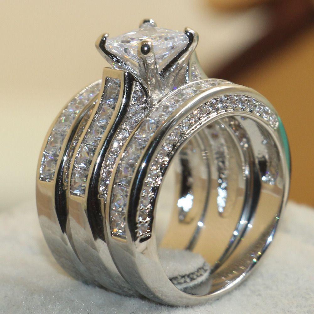 Виктория Вик Принцесса Cut ювелирный бренд стерлингового серебра 925 Белый прозрачный 5A CZ камни Свадебная Для женщин Кольца подарок Размеры ...