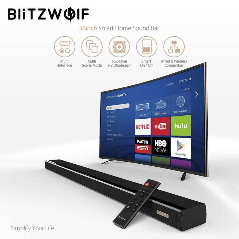 BlitzWolf Bluetooth Soundbar TV Speaker 60W 36-inch 2.0 Channel Wireless Audio Home Theater Sound bar Black For PC TV
