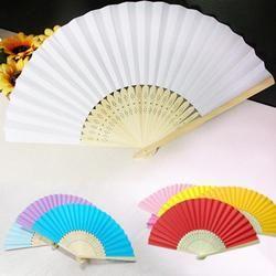 Pola Kipas Lipat Tari Pesta Pernikahan Renda Penggemar Tepi Plastik Rib Tangan Lipat Warna Solid Fan Drop Pengiriman