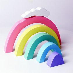 Rainbow Mainan Susun Warna-warni Blok Kayu Mainan Anak untuk Bulan Bayi Mainan Pendidikan Bayi Dekorasi Kamar Desainer untuk Anak