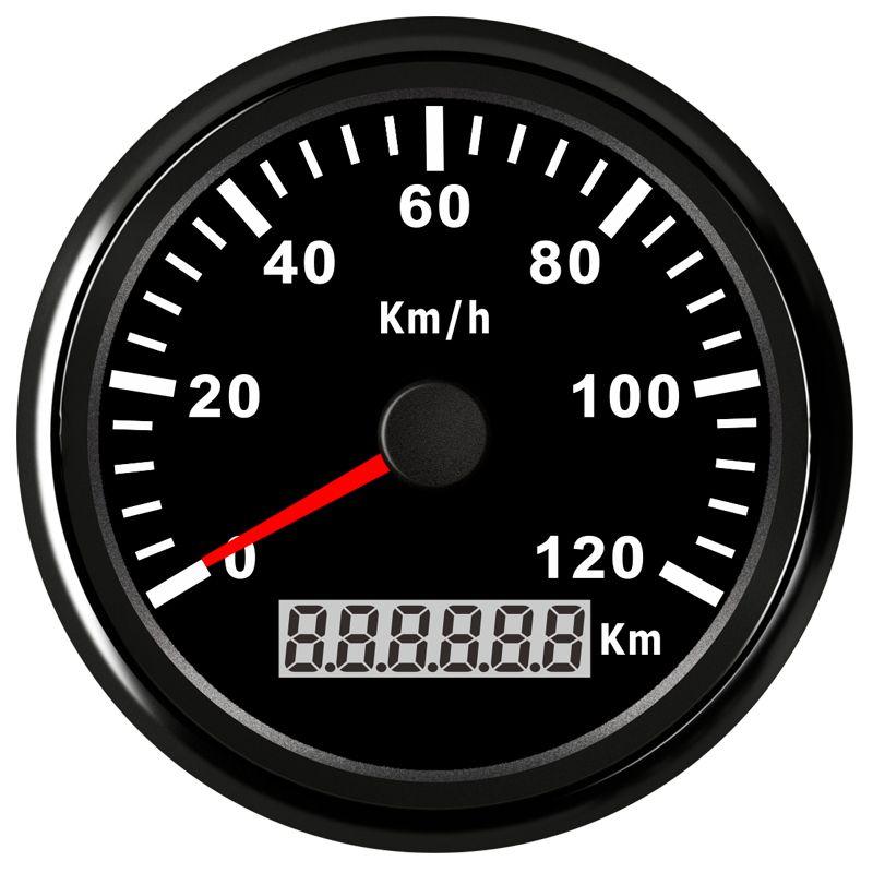85mm 120KMH Motorcycle GPS Speedometer odometer Digital Waterproof IP67 Gauge Meter for Car Truck Boat 12V 24V Red Blacklight