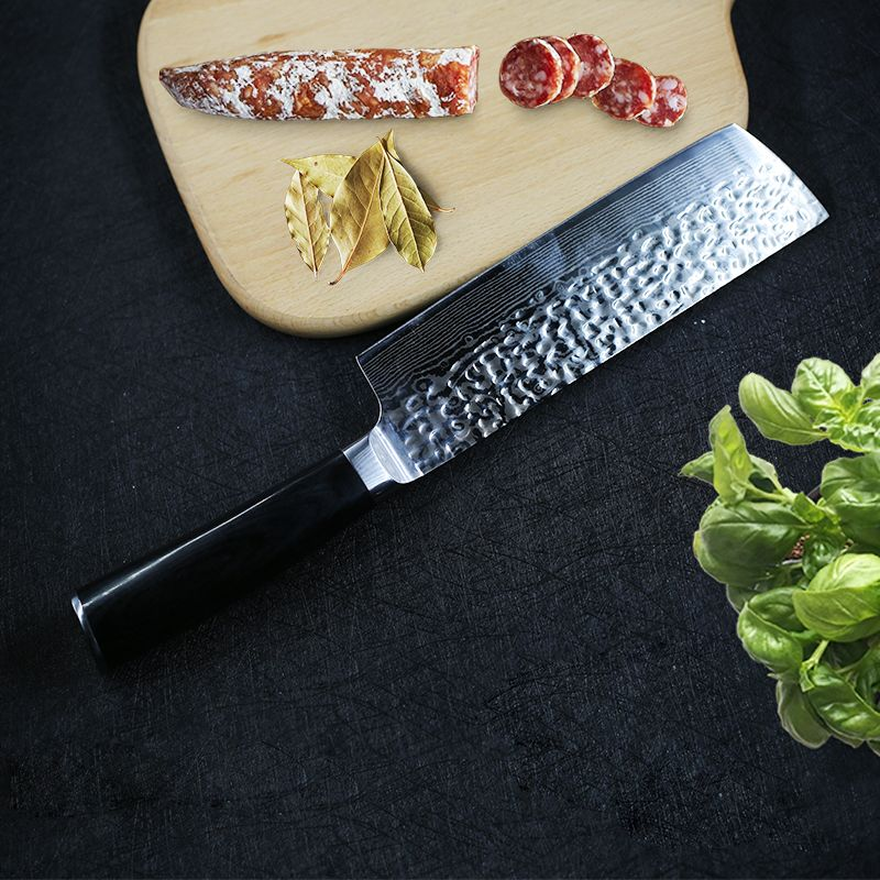 Damascus Kitchen Knives Japanese Nakiri Knife 7cr17 Stainless Steel Chef Slicing Meat Vegetable Kitchen Utility Cooking Knife