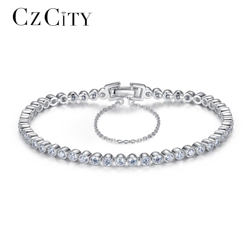 CZCITY Brilliant Clear Zircon <font><b>Stone</b></font> Tennis Silver Women Bracelet Genuine 925 Sterling Silver Wedding Bracelets & Bangles Gift