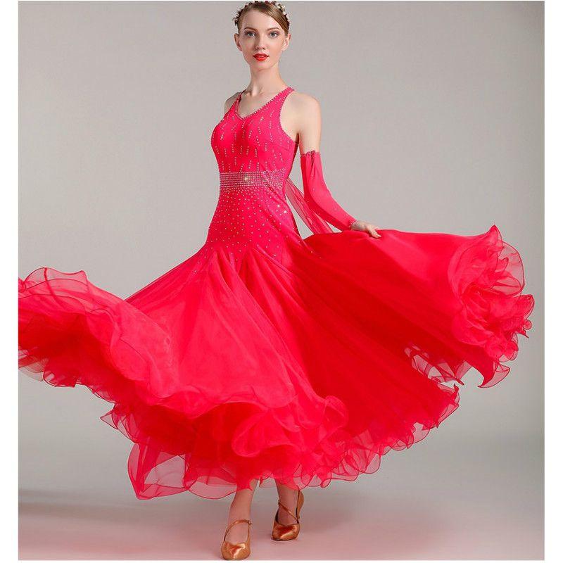 New Arrival Modern Dance Dress Adult Fashion Waltz Tango Dance Suit Lady Ballroom Dancing Wear Competition Dress 6 Colors B-6135