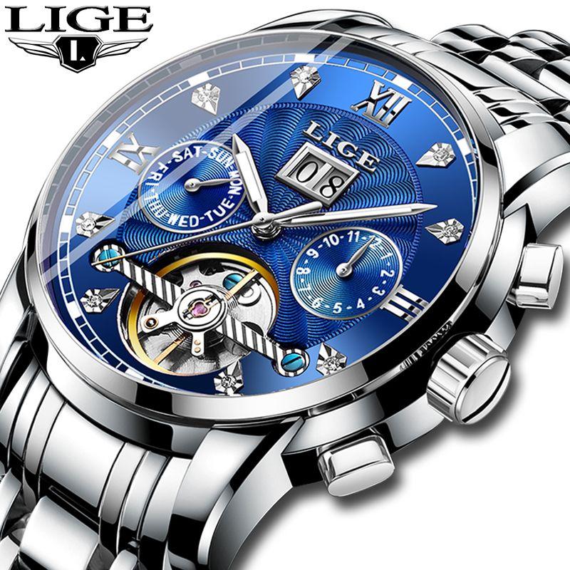 Relogio Masculino LIGE Männer Uhr Mechanische Tourbillon Luxus Mode Marke Edelstahl Sport Uhren Herren Automatische Uhr