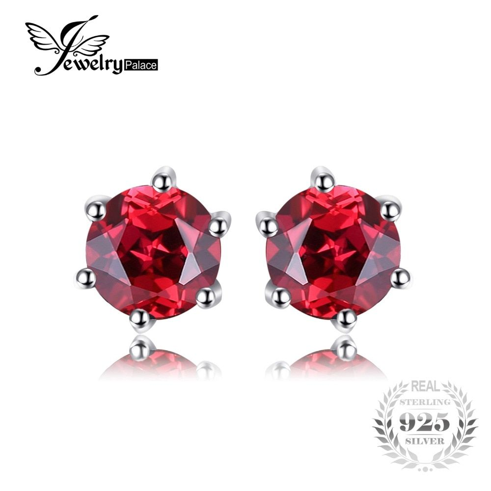 JewelryPalace VVS Red Round Gemstone Jewelry Natural Garnet Earrings Stud Genuine 925 Sterling Silver Jewelry Brand New