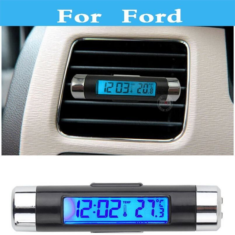Car Digital Time Clock + Time + Thermometer For Ford Excursion Expedition Explorer Crown Victoria EcoSport Edge Escape Everest