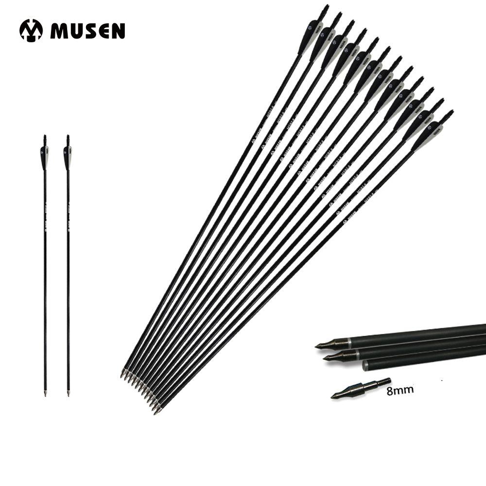 6/12/24 pièces mixte carbone flèche longueur 30 pouces colonne vertébrale 500 noir et blanc plume pour arc classique/composé tir à l'arc chasse
