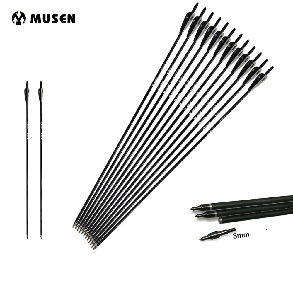 6/12/24pcs Mixed <font><b>Carbon</b></font> Arrow Length 30 Inches Spine 500 Black and White Feather for Recurve/Compound Bow Archery Hunting