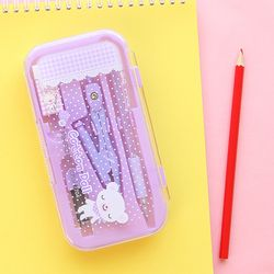 Cute Kawaii Animal Geometric Set Mecanical Pencils Compass Eraser Rulers School Supplies Stationery