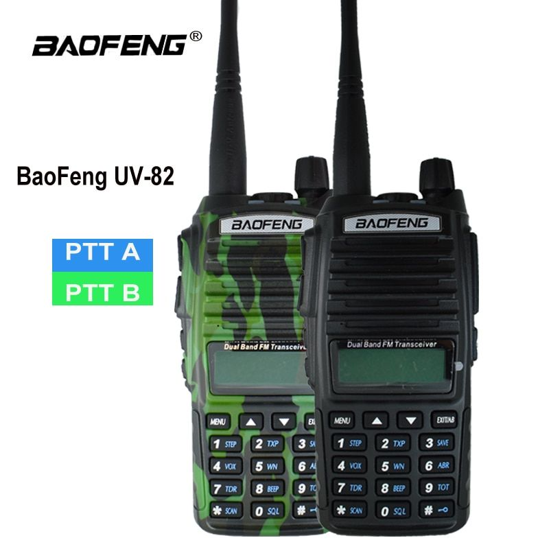 Orginal Baofeng UV-82 Walkie Talkie UV 82 Portable Two way Radio Dual PTT Ham CB Radio Station VHF UHF UV82 Hunting Transceiver