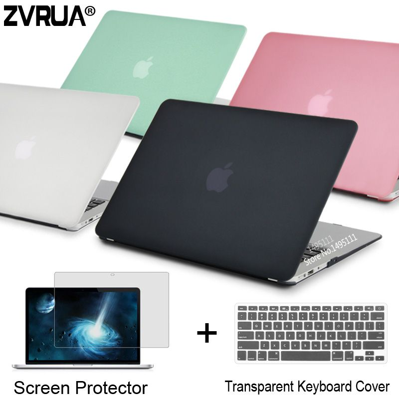 ZVRUA Laptop Case For Apple MacBook Air Pro Retina 11 12 13 15 for mac book New Pro 13 15 inch with Touch Bar+ Keyboard <font><b>Cover</b></font>