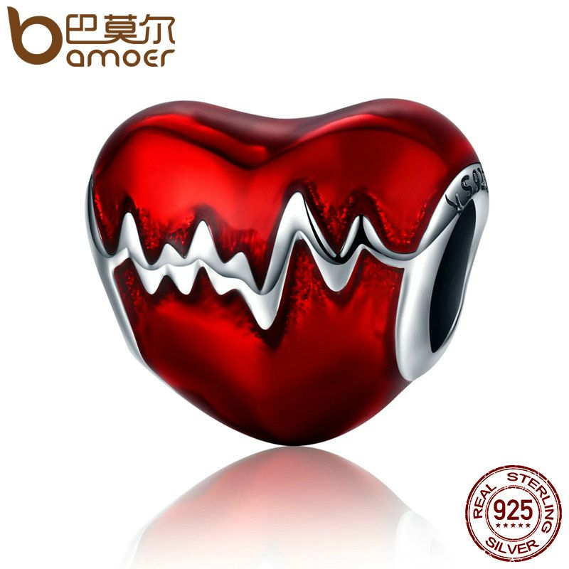 BAMOER New Arrival 100% 925 Sterling Silver Love Heart ECG & Red Enamel Beads fit Charm Bracelets for Women Jewelry Gift SCC249