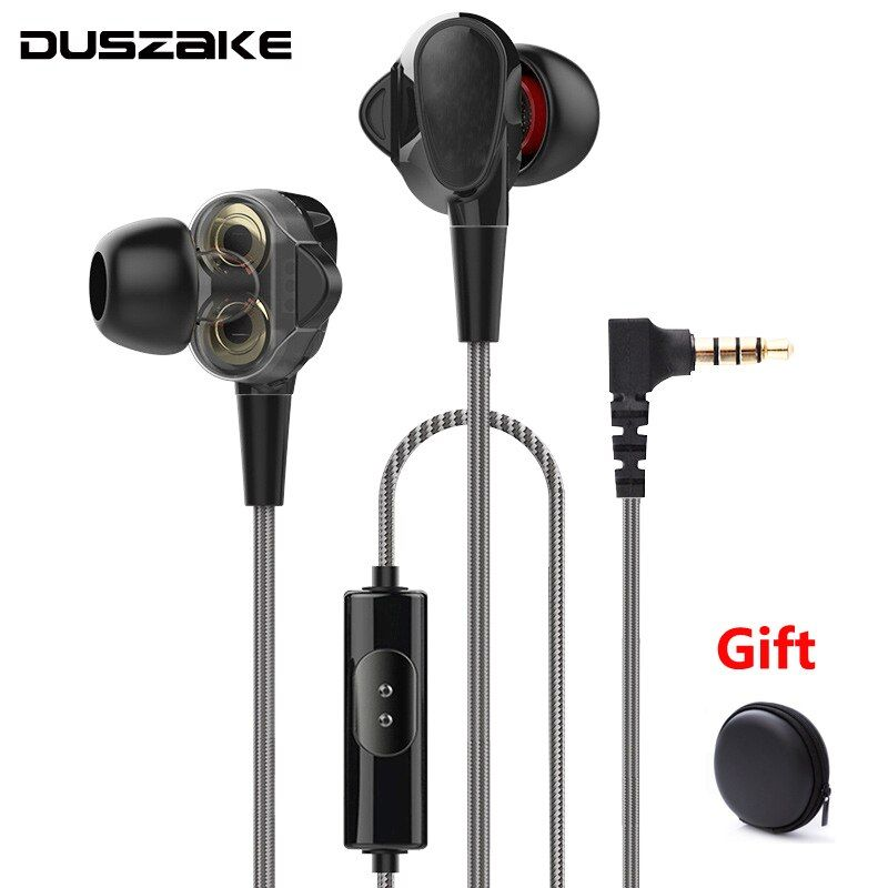 Duszake Stereo Bass Headphone In-Ear 3.5MM Wired Dual driver Earphones Metal HIFI Earpiece with MIC for Xiaomi Samsung Phones